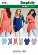1198 Simplicity Pattern: Misses' Knit Tops in Two Styles